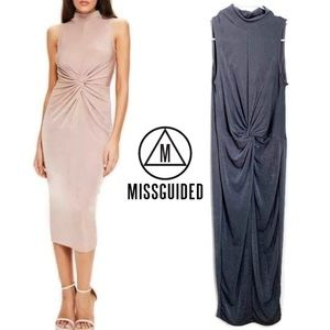 Misguided High Neck Maxi Dress Twist Front Gray 4